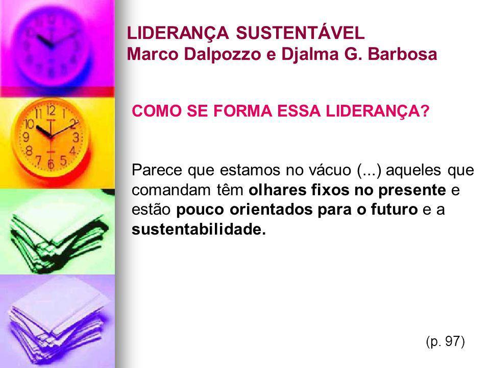 LIDERANÇA SUSTENTÁVEL Marco Dalpozzo e Djalma G. Barbosa COMO SE FORMA ESSA LIDERANÇA? Parece que estamos no vácuo (...) aqueles que comandam têm olha