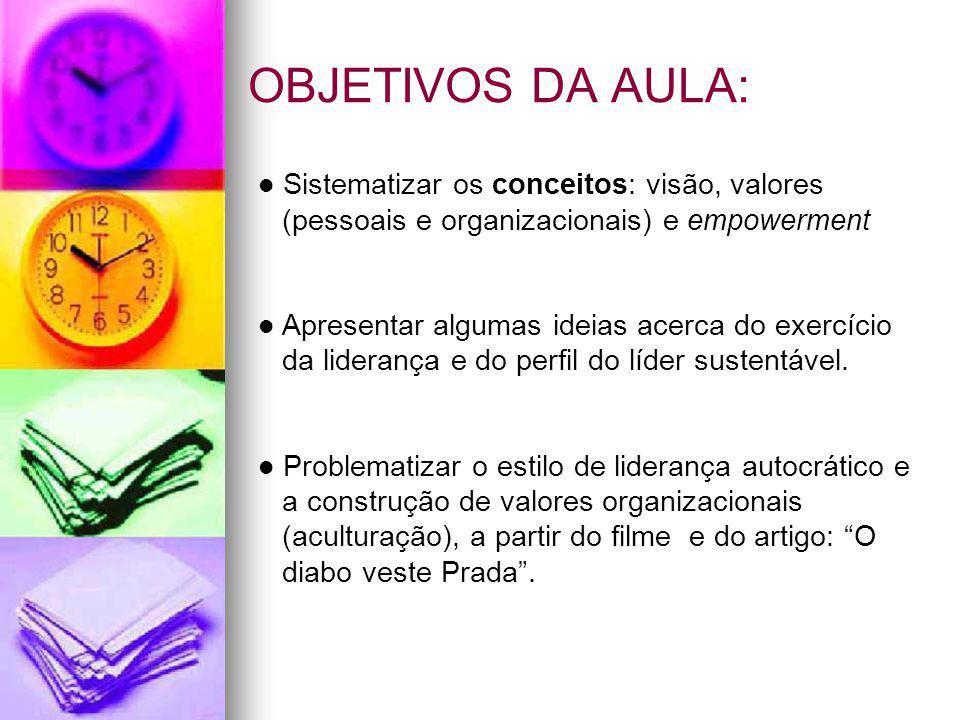 OBJETIVOS DA AULA: Sistematizar os conceitos: visão, valores (pessoais e organizacionais) e empowerment Apresentar algumas ideias acerca do exercício da liderança e do perfil do líder sustentável.