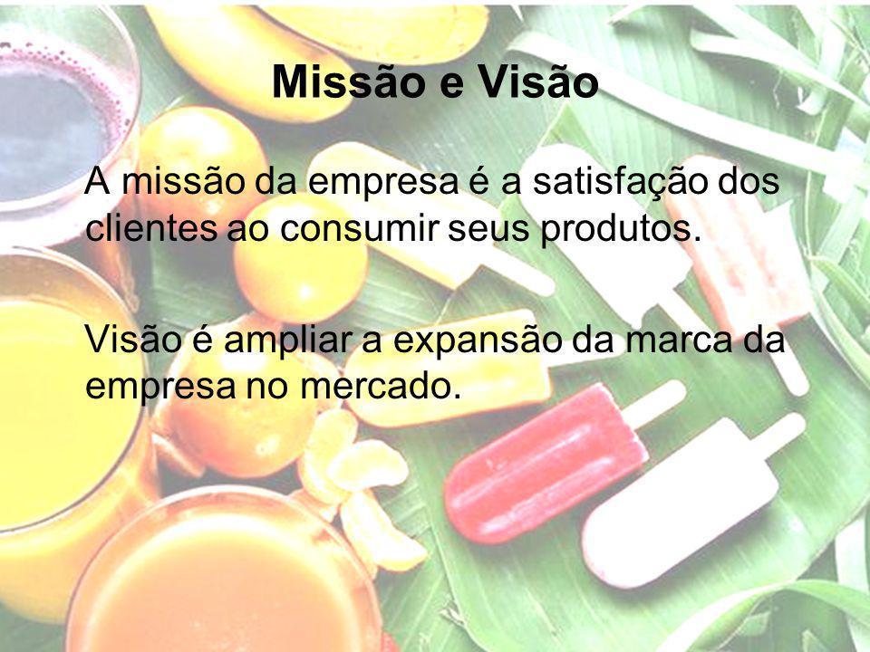 Missão e Visão A missão da empresa é a satisfação dos clientes ao consumir seus produtos. Visão é ampliar a expansão da marca da empresa no mercado.