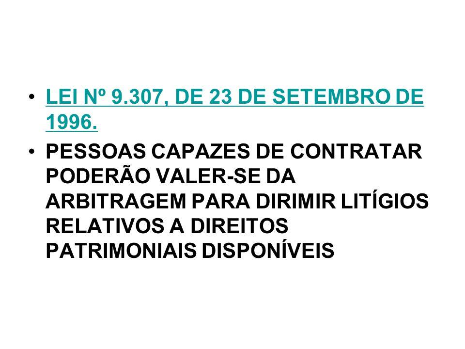 LEI Nº 9.307, DE 23 DE SETEMBRO DE 1996.LEI Nº 9.307, DE 23 DE SETEMBRO DE 1996. PESSOAS CAPAZES DE CONTRATAR PODERÃO VALER-SE DA ARBITRAGEM PARA DIRI