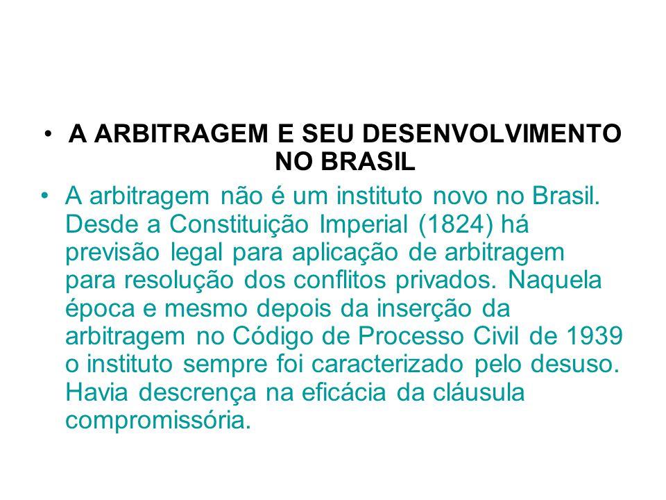 A ARBITRAGEM E SEU DESENVOLVIMENTO NO BRASIL A arbitragem não é um instituto novo no Brasil. Desde a Constituição Imperial (1824) há previsão legal pa