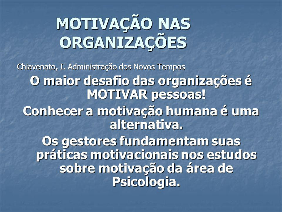 MOTIVAÇÃO NAS ORGANIZAÇÕES TEORIA DE CONTEÚDO Teoria das Necessidades de Maslow É a mais difundida.