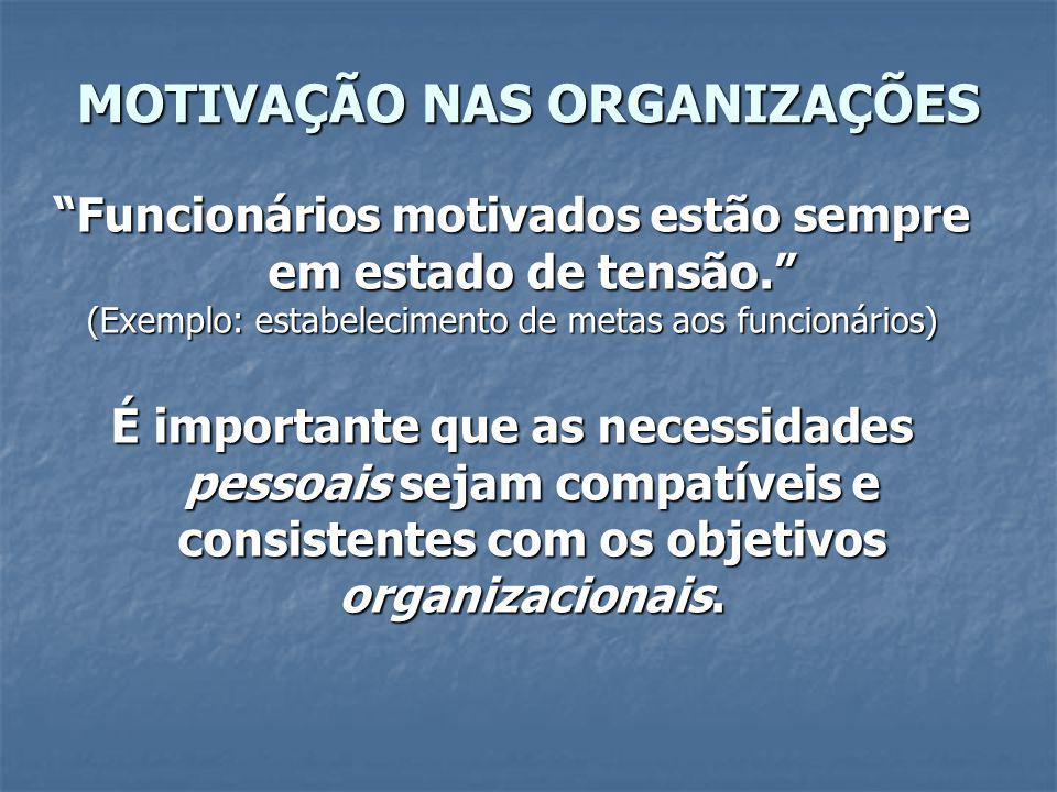 MOTIVAÇÃO NAS ORGANIZAÇÕES Incentivo = Estímulo externo, recompensa Necessidade = Carência interna pessoal, motivo.