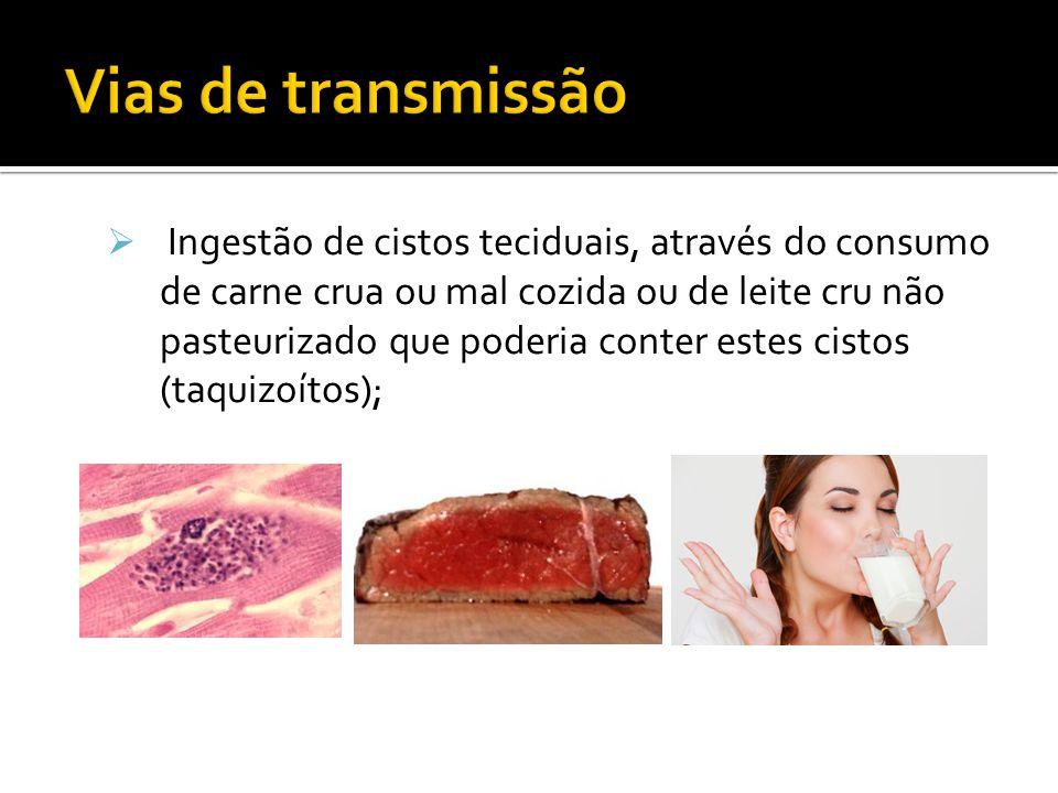 Ingestão de cistos teciduais, através do consumo de carne crua ou mal cozida ou de leite cru não pasteurizado que poderia conter estes cistos (taquizoítos);