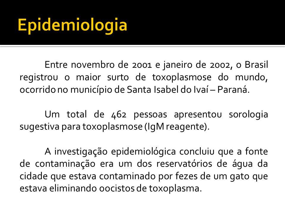 Entre novembro de 2001 e janeiro de 2002, o Brasil registrou o maior surto de toxoplasmose do mundo, ocorrido no município de Santa Isabel do Ivaí – Paraná.