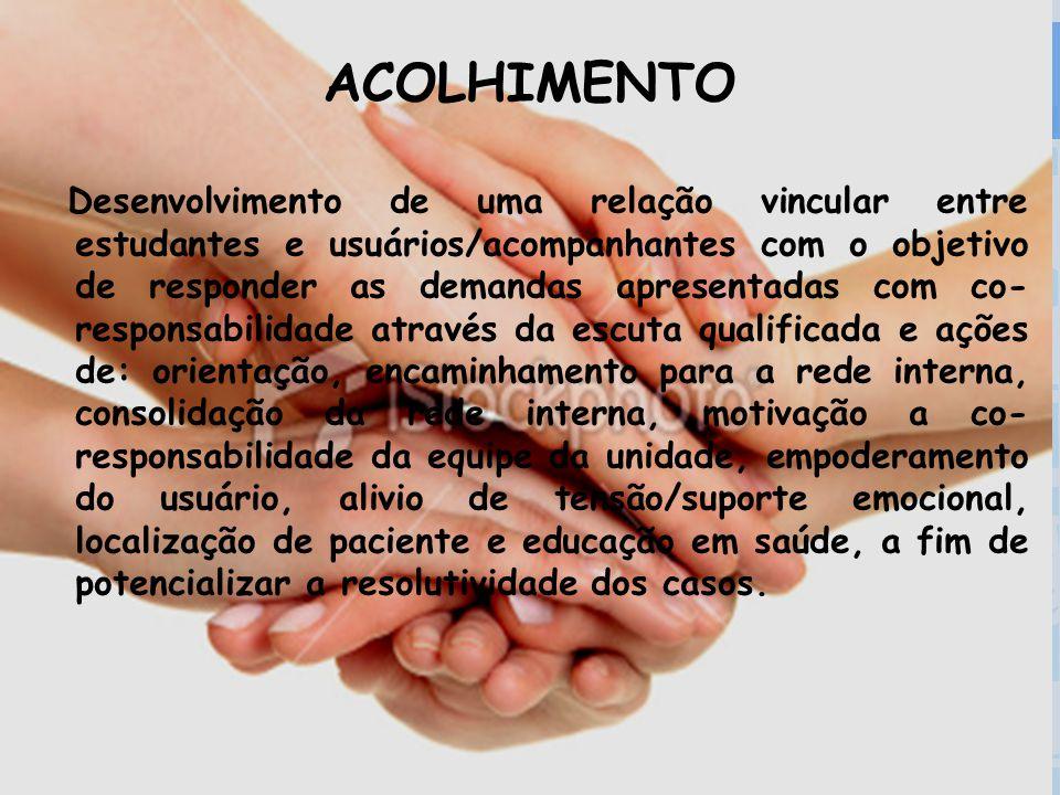 Secretaria da Saúde ACOLHIMENTO Desenvolvimento de uma relação vincular entre estudantes e usuários/acompanhantes com o objetivo de responder as deman