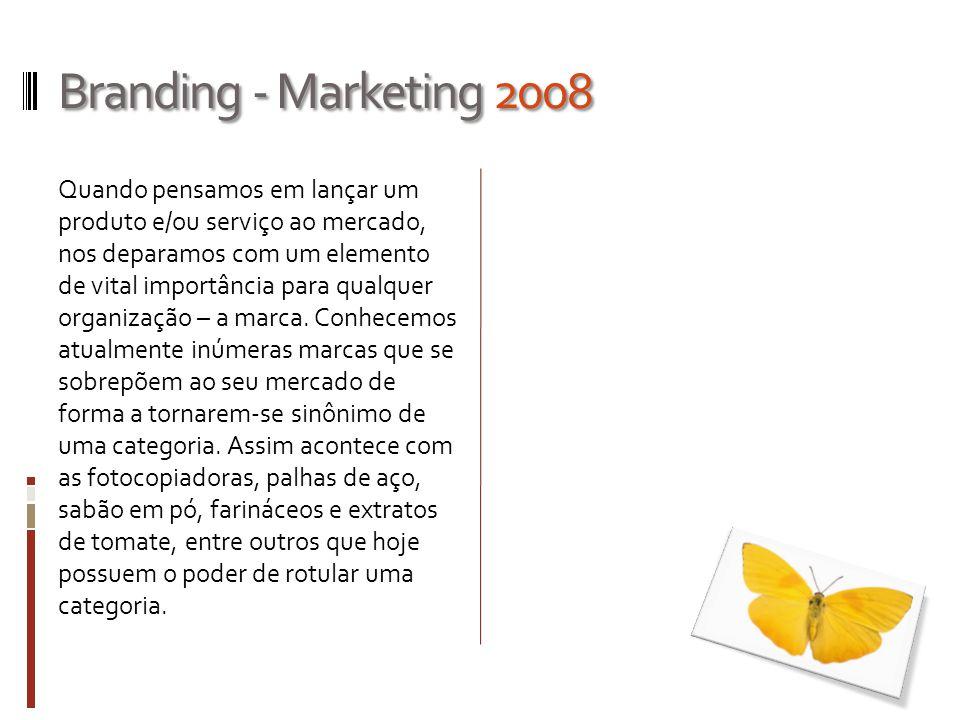 Branding - Marketing 2008 Quando pensamos em lançar um produto e/ou serviço ao mercado, nos deparamos com um elemento de vital importância para qualqu