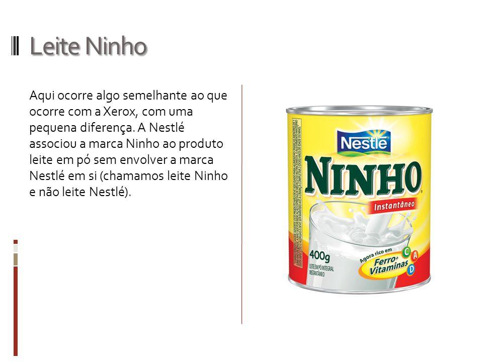 Leite Ninho Aqui ocorre algo semelhante ao que ocorre com a Xerox, com uma pequena diferença. A Nestlé associou a marca Ninho ao produto leite em pó s