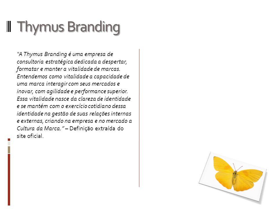 Thymus Branding A Thymus Branding é uma empresa de consultoria estratégica dedicada a despertar, formatar e manter a vitalidade de marcas. Entendemos