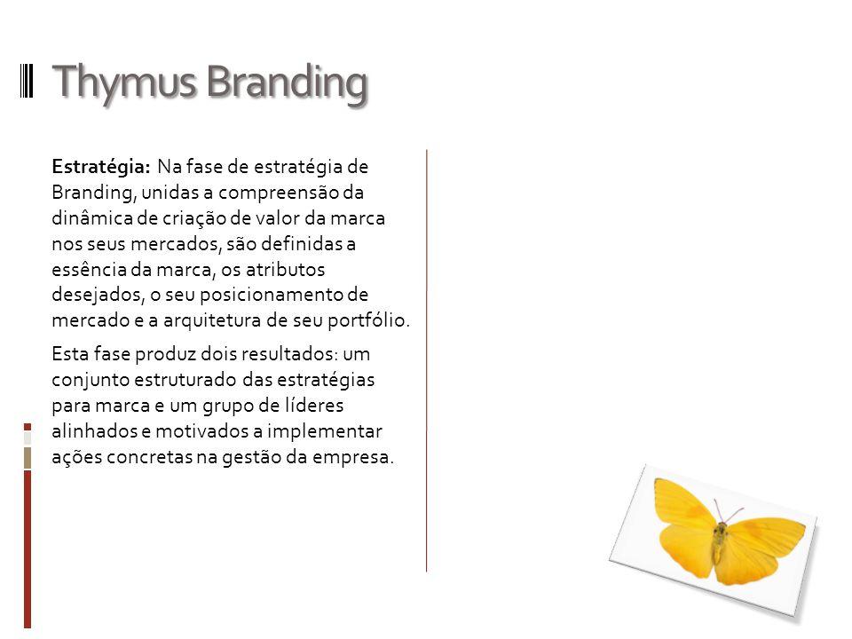 Thymus Branding Estratégia: Na fase de estratégia de Branding, unidas a compreensão da dinâmica de criação de valor da marca nos seus mercados, são de