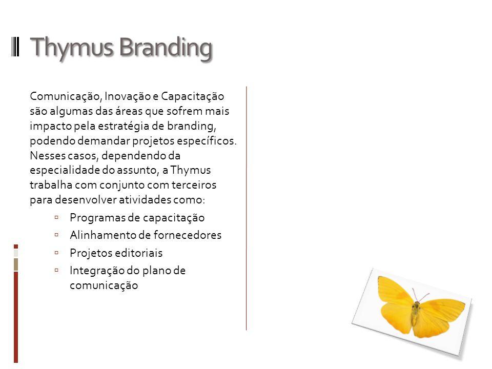 Thymus Branding Comunicação, Inovação e Capacitação são algumas das áreas que sofrem mais impacto pela estratégia de branding, podendo demandar projet