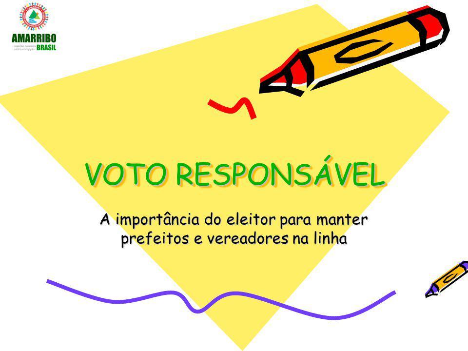 VOTO RESPONSÁVEL A importância do eleitor para manter prefeitos e vereadores na linha
