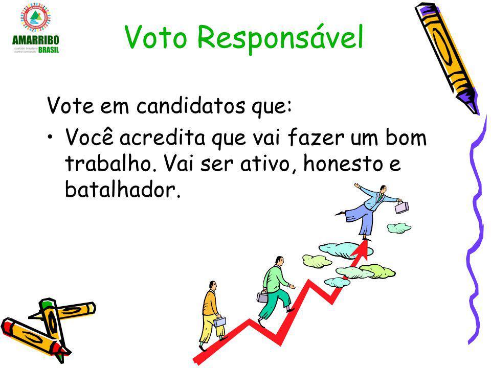 Voto Responsável Vote em candidatos que: Você acredita que vai fazer um bom trabalho. Vai ser ativo, honesto e batalhador.