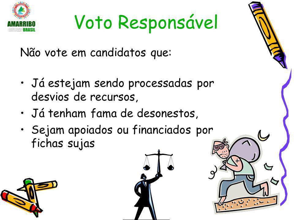 Voto Responsável Não vote em candidatos que: Já estejam sendo processadas por desvios de recursos, Já tenham fama de desonestos, Sejam apoiados ou fin