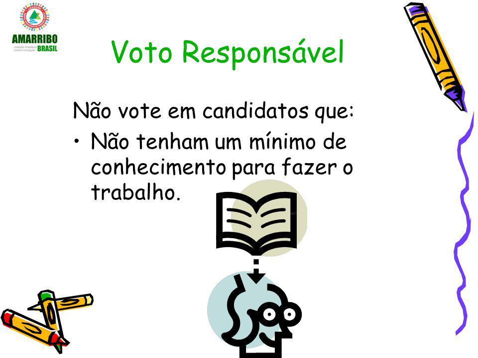 Voto Responsável Não vote em candidatos que: Não tenham um mínimo de conhecimento para fazer o trabalho.