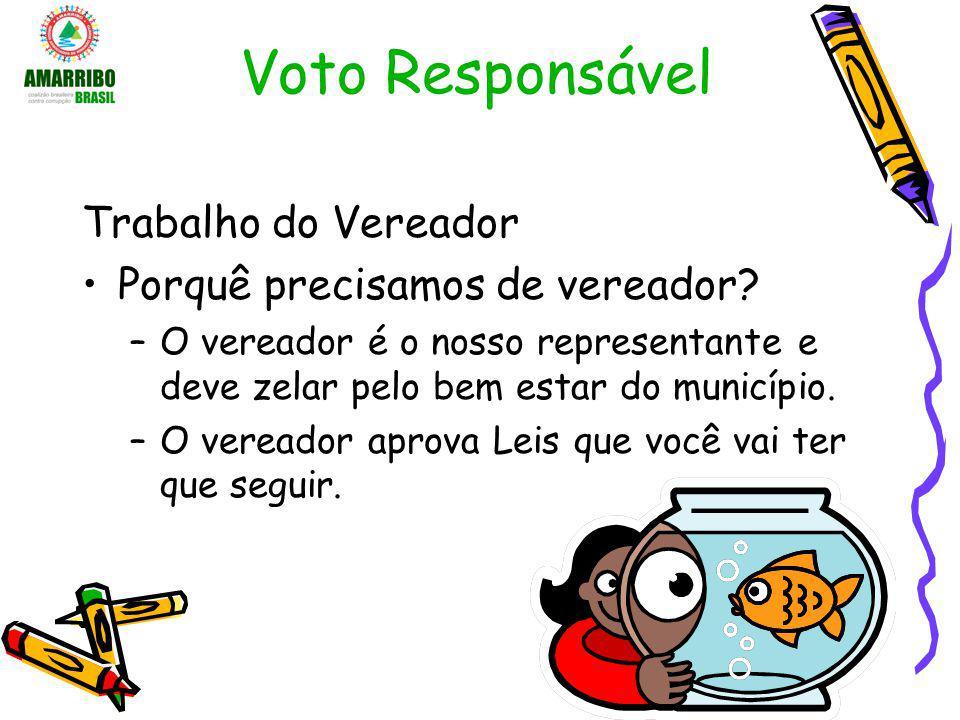 Voto Responsável Trabalho do Vereador Porquê precisamos de vereador? –O vereador é o nosso representante e deve zelar pelo bem estar do município. –O