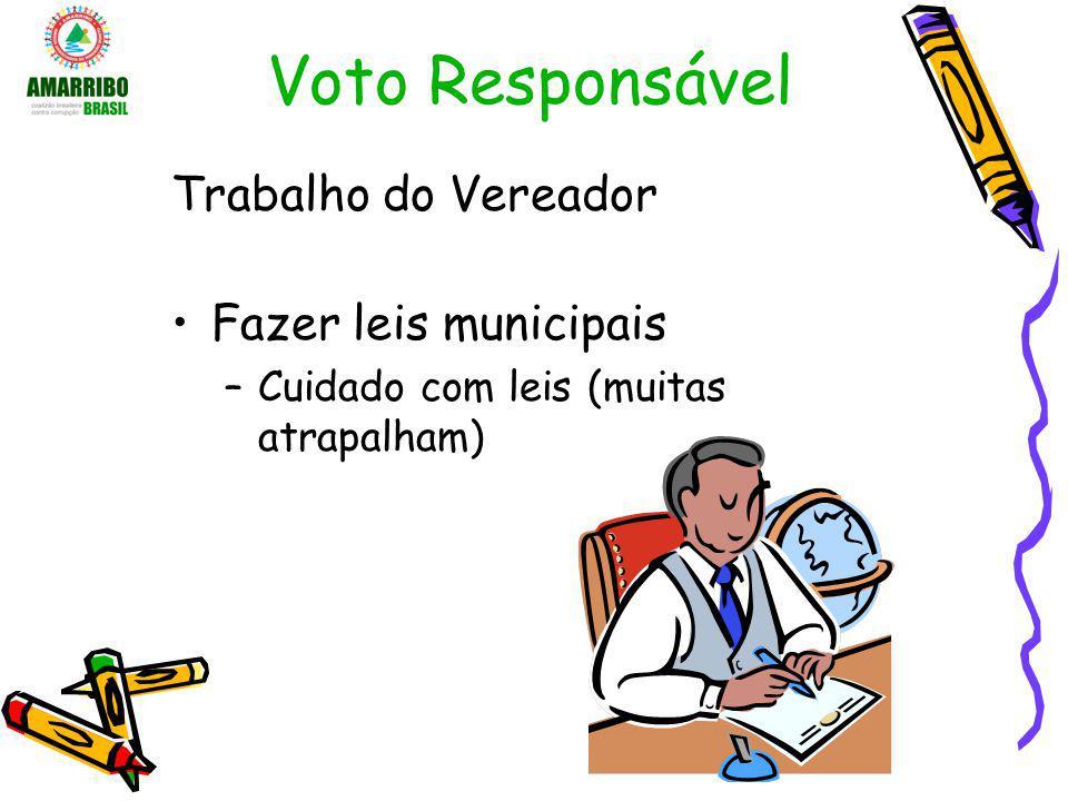 Voto Responsável Trabalho do Vereador Fazer leis municipais –Cuidado com leis (muitas atrapalham)