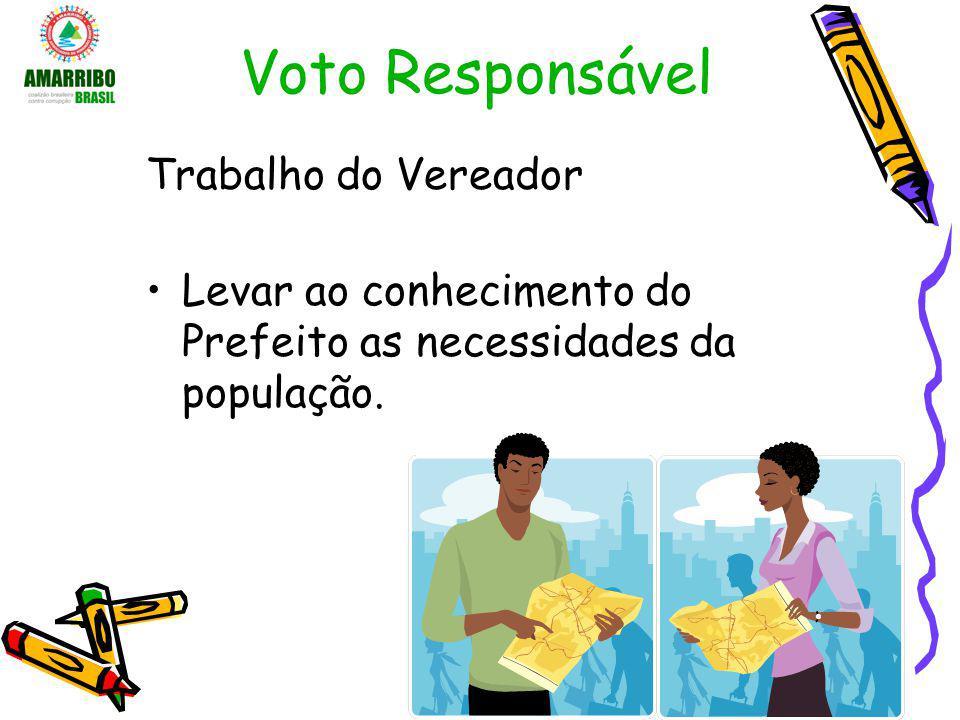Voto Responsável Trabalho do Vereador Levar ao conhecimento do Prefeito as necessidades da população.