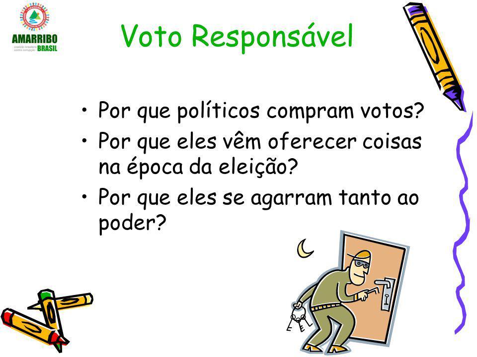 Voto Responsável Por que políticos compram votos? Por que eles vêm oferecer coisas na época da eleição? Por que eles se agarram tanto ao poder?