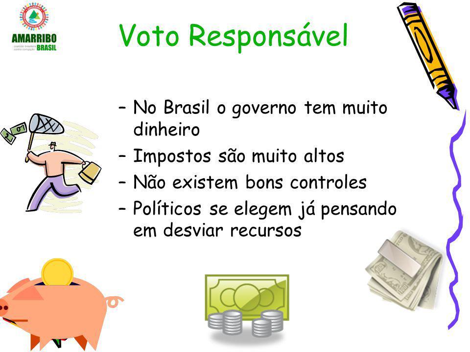 Voto Responsável –No Brasil o governo tem muito dinheiro –Impostos são muito altos –Não existem bons controles –Políticos se elegem já pensando em des