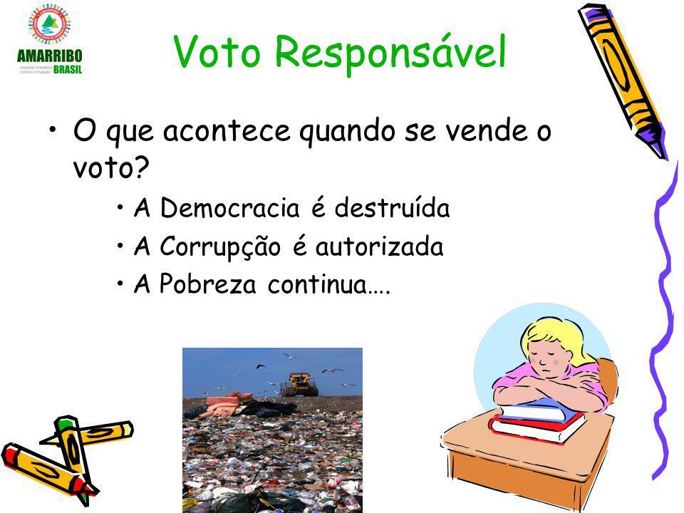 Voto Responsável O que acontece quando se vende o voto? A Democracia é destruída A Corrupção é autorizada A Pobreza continua….