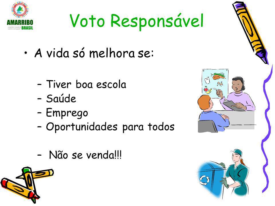 Voto Responsável A vida só melhora se: –Tiver boa escola –Saúde –Emprego –Oportunidades para todos – Não se venda!!!