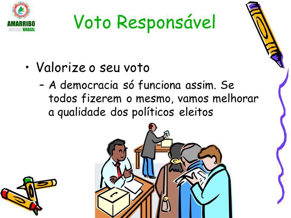 Voto Responsável Valorize o seu voto –A democracia só funciona assim. Se todos fizerem o mesmo, vamos melhorar a qualidade dos políticos eleitos