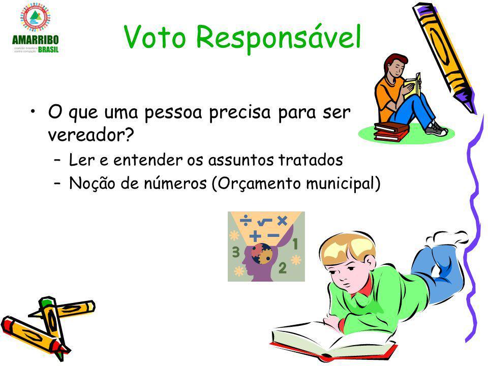 Voto Responsável O que uma pessoa precisa para ser vereador? –Ler e entender os assuntos tratados –Noção de números (Orçamento municipal)