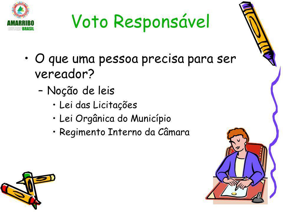 Voto Responsável O que uma pessoa precisa para ser vereador? –Noção de leis Lei das Licitações Lei Orgânica do Município Regimento Interno da Câmara