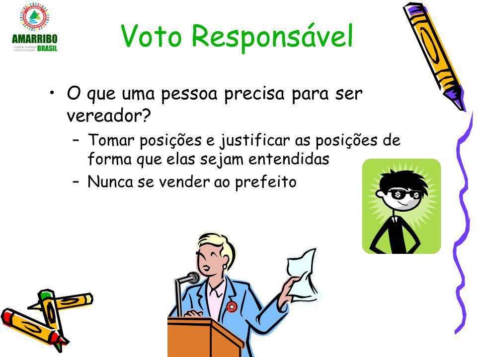 Voto Responsável O que uma pessoa precisa para ser vereador? –Tomar posições e justificar as posições de forma que elas sejam entendidas –Nunca se ven