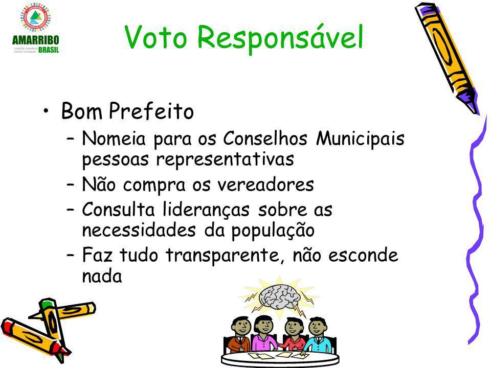 Voto Responsável Bom Prefeito –Nomeia para os Conselhos Municipais pessoas representativas –Não compra os vereadores –Consulta lideranças sobre as nec