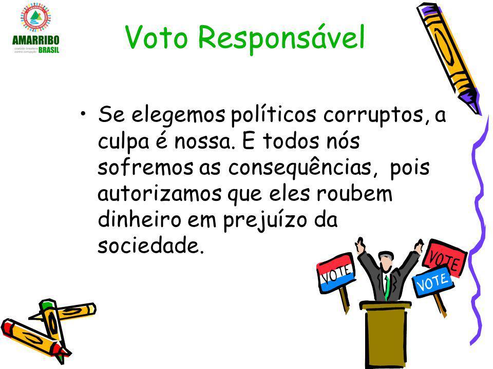 Voto Responsável Se elegemos políticos corruptos, a culpa é nossa. E todos nós sofremos as consequências, pois autorizamos que eles roubem dinheiro em