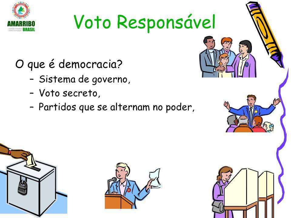 Voto Responsável O que é democracia? –Sistema de governo, –Voto secreto, –Partidos que se alternam no poder,