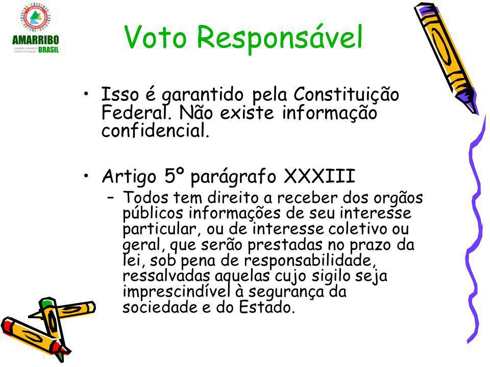 Voto Responsável Isso é garantido pela Constituição Federal. Não existe informação confidencial. Artigo 5º parágrafo XXXIII –Todos tem direito a receb