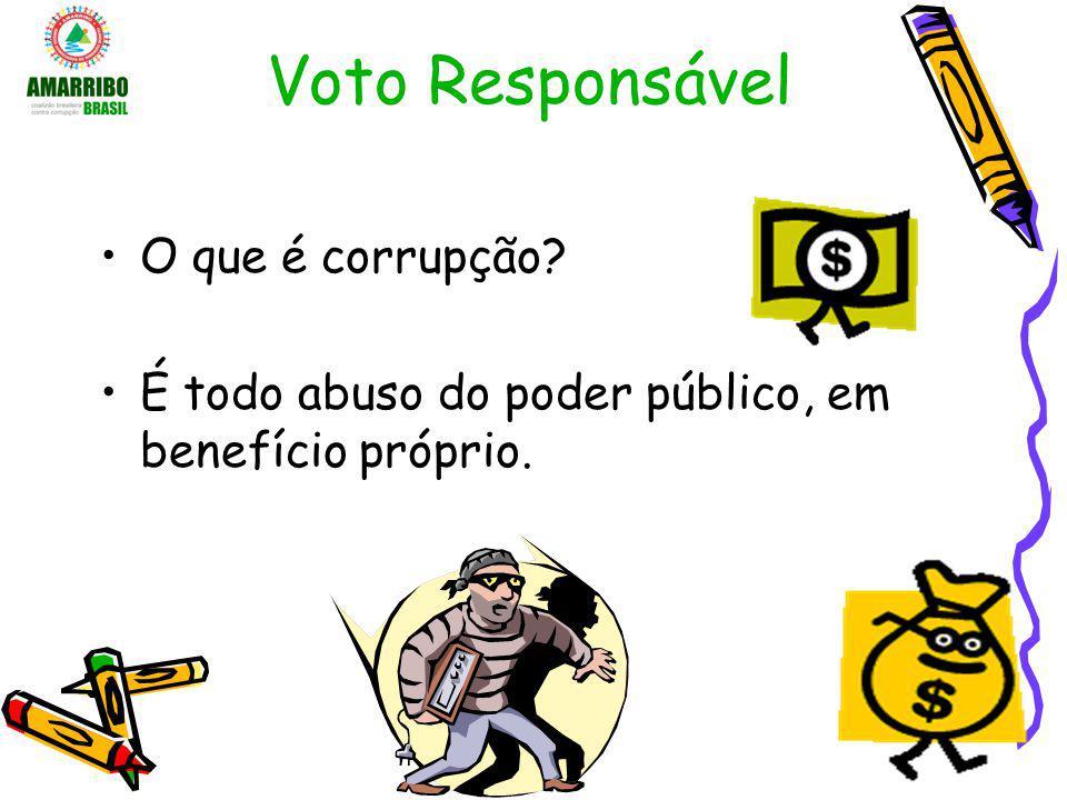 Voto Responsável O que é corrupção? É todo abuso do poder público, em benefício próprio.