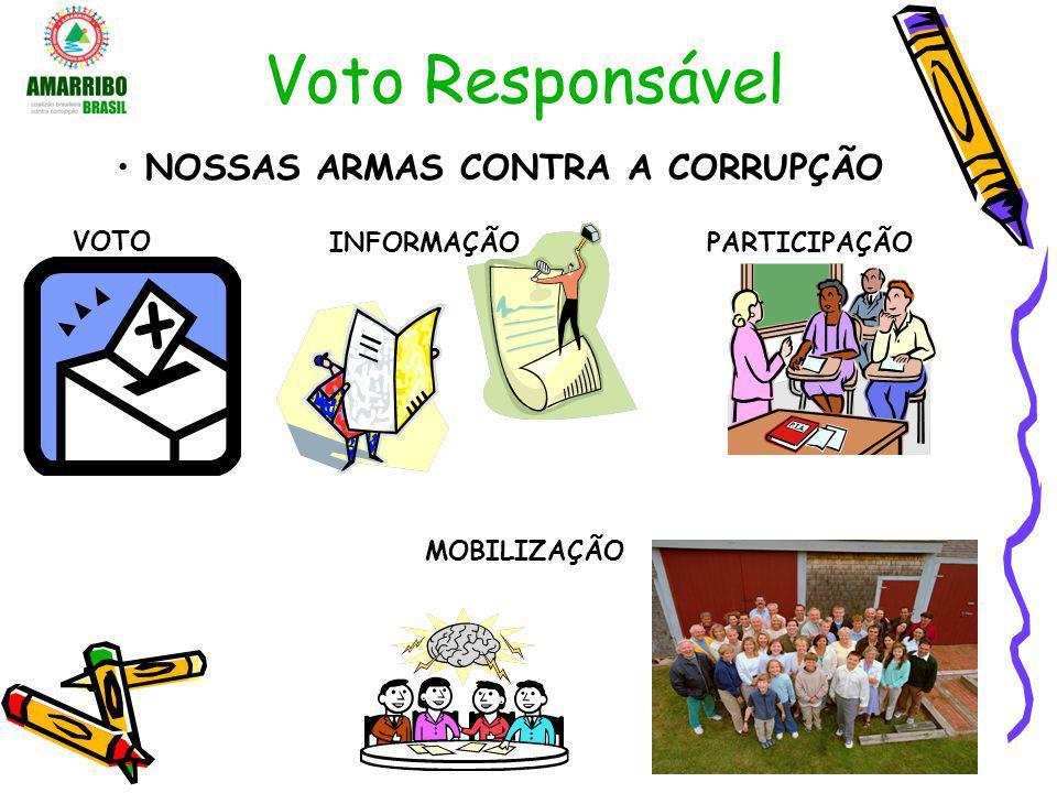 Voto Responsável NOSSAS ARMAS CONTRA A CORRUPÇÃO INFORMAÇÃO VOTO MOBILIZAÇÃO PARTICIPAÇÃO