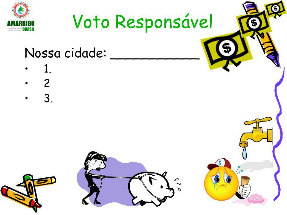 Voto Responsável Democracia exige memória e informação –Lembre-se em quem votou –Procure a história do seu candidato –Guarde o programa do seu candidato –Assista a debates, fique atento a notícias