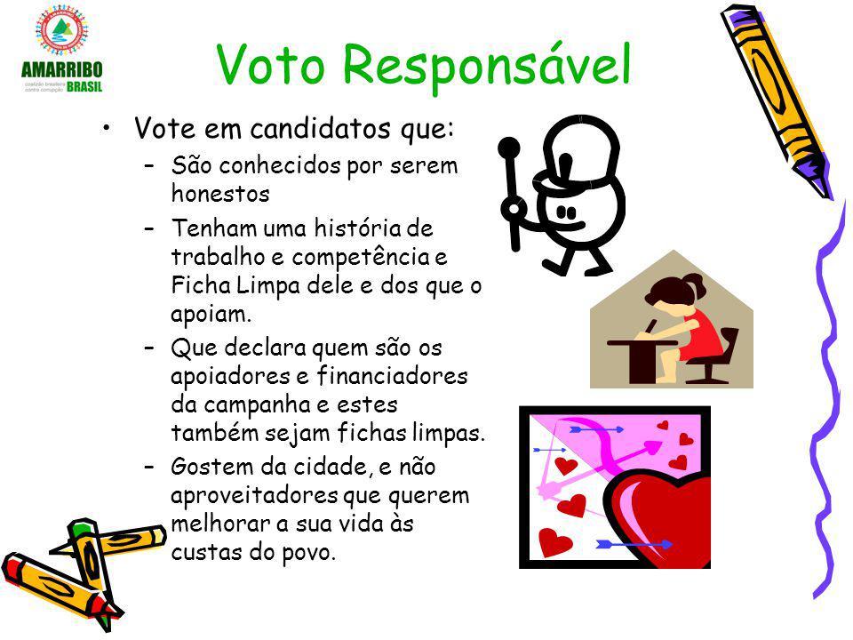 Voto Responsável Vote em candidatos que: –São conhecidos por serem honestos –Tenham uma história de trabalho e competência e Ficha Limpa dele e dos qu