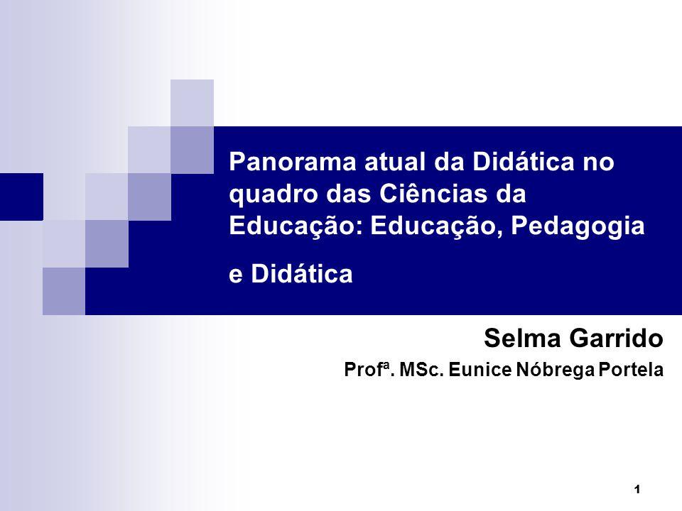 1 Panorama atual da Didática no quadro das Ciências da Educação: Educação, Pedagogia e Didática Selma Garrido Profª. MSc. Eunice Nóbrega Portela