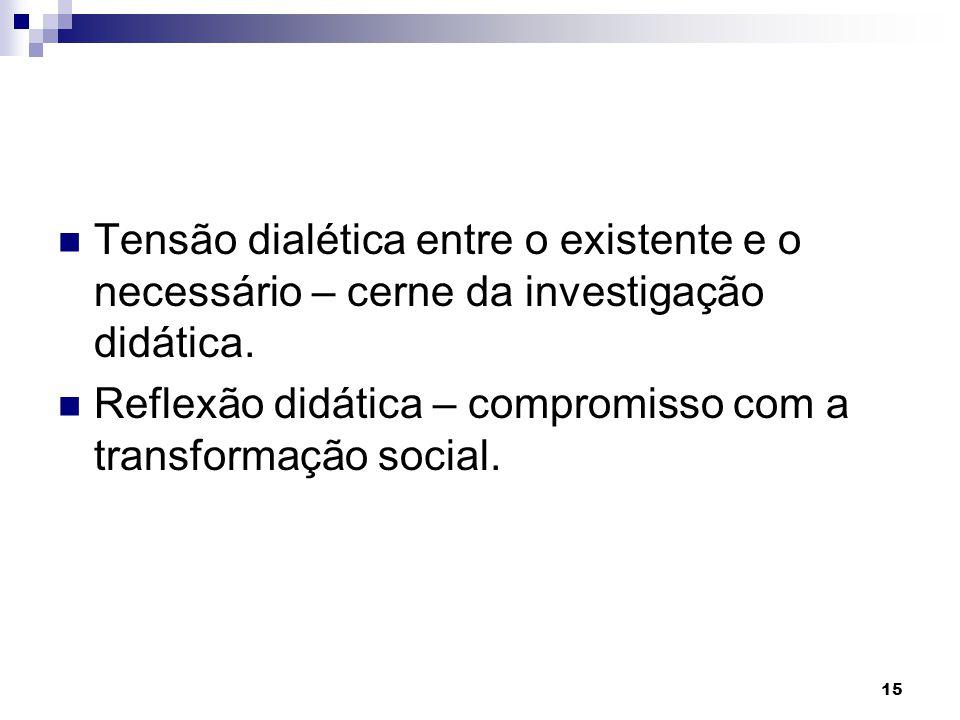 15 Tensão dialética entre o existente e o necessário – cerne da investigação didática. Reflexão didática – compromisso com a transformação social.