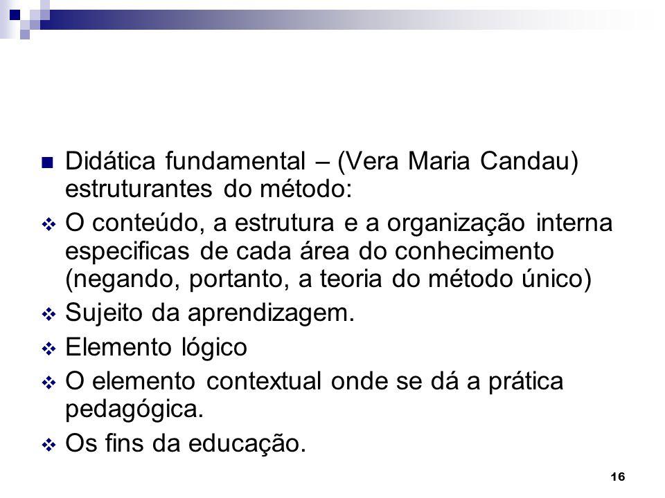 16 Didática fundamental – (Vera Maria Candau) estruturantes do método: O conteúdo, a estrutura e a organização interna especificas de cada área do con