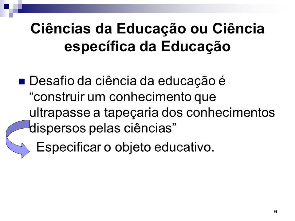 6 Ciências da Educação ou Ciência específica da Educação Desafio da ciência da educação é construir um conhecimento que ultrapasse a tapeçaria dos con