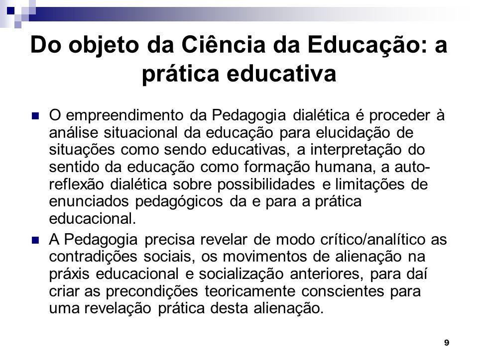9 Do objeto da Ciência da Educação: a prática educativa O empreendimento da Pedagogia dialética é proceder à análise situacional da educação para eluc