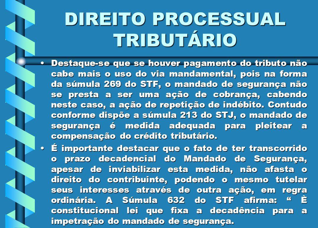 DIREITO PROCESSUAL TRIBUTÁRIO Destaque-se que se houver pagamento do tributo não cabe mais o uso do via mandamental, pois na forma da súmula 269 do ST
