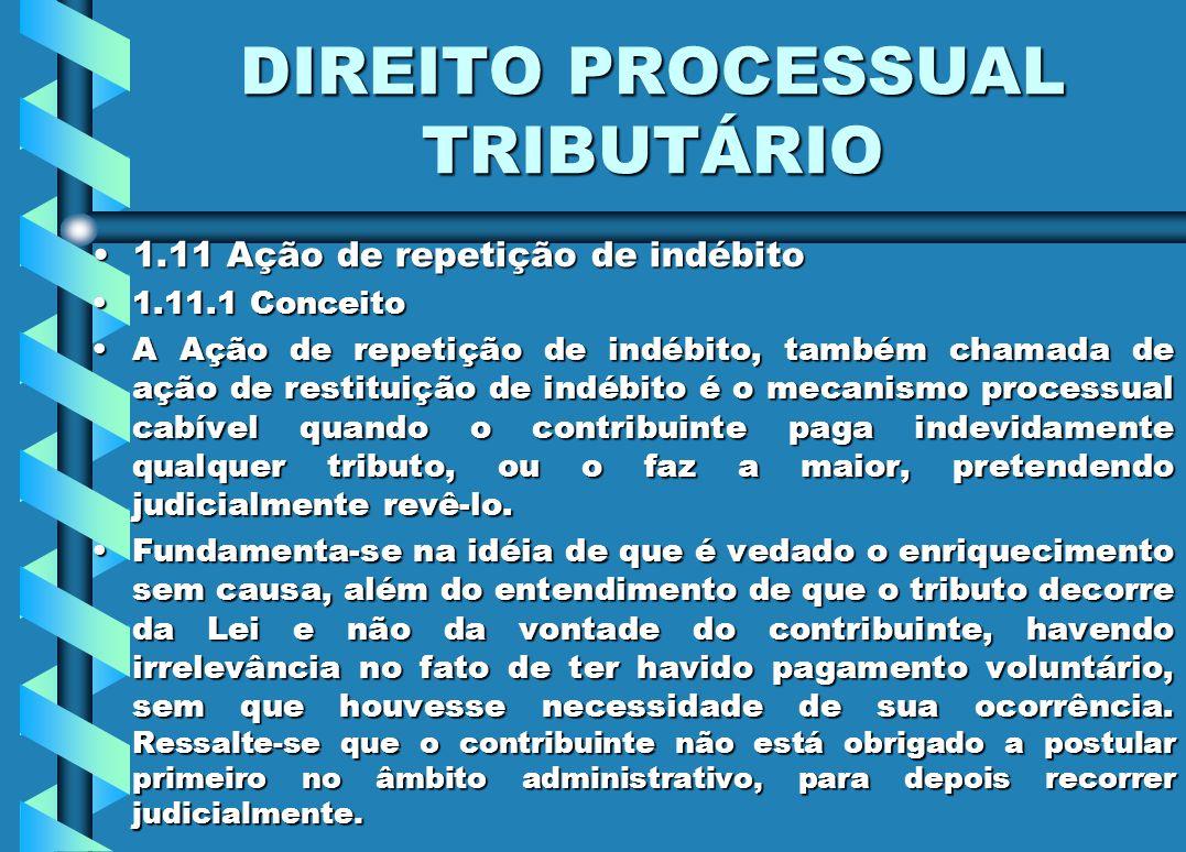 DIREITO PROCESSUAL TRIBUTÁRIO 1.11 Ação de repetição de indébito1.11 Ação de repetição de indébito 1.11.1 Conceito1.11.1 Conceito A Ação de repetição