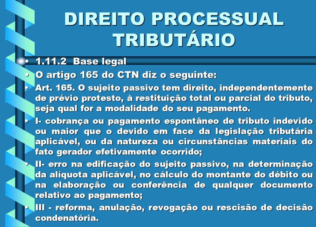DIREITO PROCESSUAL TRIBUTÁRIO 1.11.2 Base legal1.11.2 Base legal O artigo 165 do CTN diz o seguinte:O artigo 165 do CTN diz o seguinte: Art. 165. O su