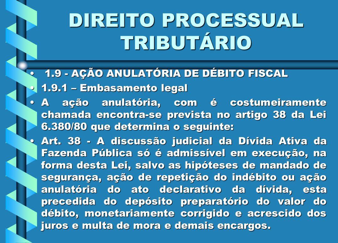 DIREITO PROCESSUAL TRIBUTÁRIO 1.9 - AÇÃO ANULATÓRIA DE DÉBITO FISCAL 1.9 - AÇÃO ANULATÓRIA DE DÉBITO FISCAL 1.9.1 – Embasamento legal1.9.1 – Embasamen
