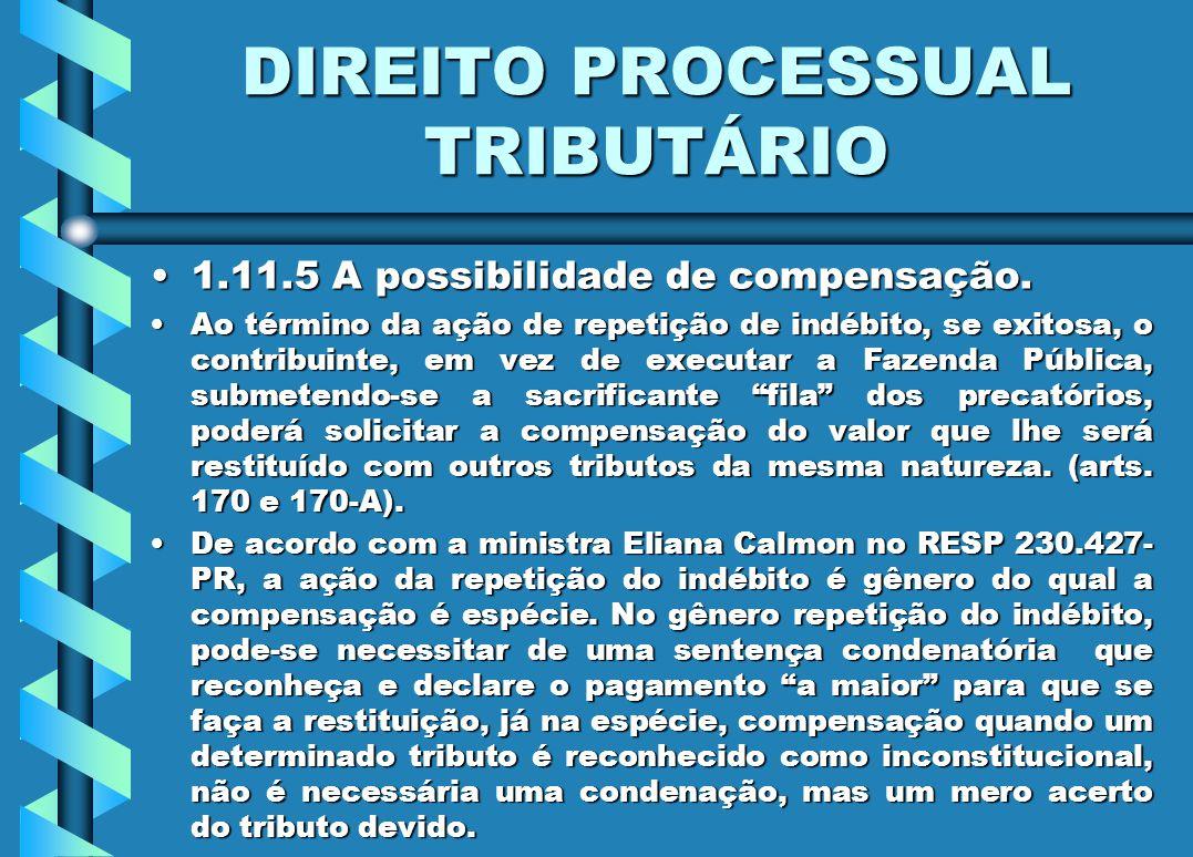 DIREITO PROCESSUAL TRIBUTÁRIO 1.11.5 A possibilidade de compensação.1.11.5 A possibilidade de compensação. Ao término da ação de repetição de indébito