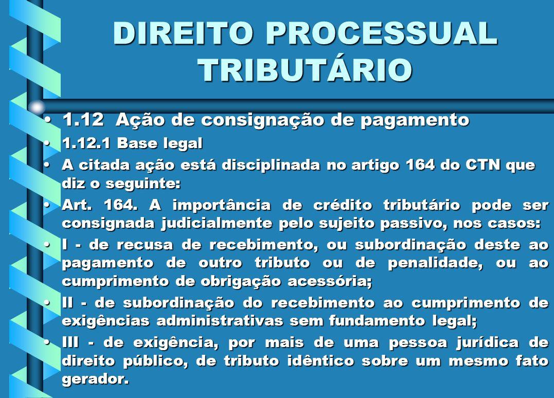 DIREITO PROCESSUAL TRIBUTÁRIO 1.12 Ação de consignação de pagamento1.12 Ação de consignação de pagamento 1.12.1 Base legal1.12.1 Base legal A citada a