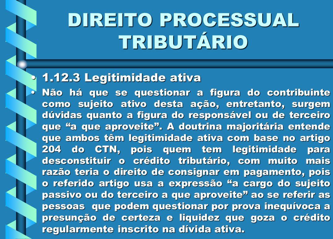 DIREITO PROCESSUAL TRIBUTÁRIO 1.12.3 Legitimidade ativa1.12.3 Legitimidade ativa Não há que se questionar a figura do contribuinte como sujeito ativo